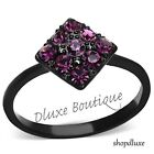 Women's Pave Round Cut Amethyst CZ Black Stainless Steel Fashion Ring Size 5-10