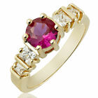 Women Jewelry Red Ruby Yellow Gold Plated Lady Fashion Jewelry Ring M O Q