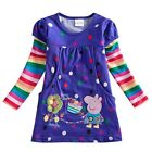 Purple Peppa Pig Polka Dots Girls Kid Rainbow Sleeve Top Dress T Shirt Clothing