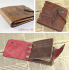 2 Styles Men's Genuine Cowboy Leather Hunter Wallet Card Holder Zip Pocket Purse