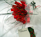 VALENTINES DAY BOUQUET OF 24 RED FLOWERS WOODEN ROSES FREE GIFT CARD GRASS BOW