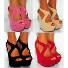 BLACK NUDE CUTOUT WEDGED WEDGES SUMMER STRAPPY SANDALS PLATFORM HIGH HEELS SHOES