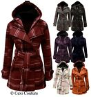 NEW LADIES BELTED HOODED BUTTON JACKET WOMENS CHECK COAT SIZES 8-20