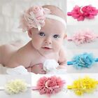 9x Baby Girl Rose Flower Pearl Headband Elastic Hair Band Satin Bow Mix 9 Colors