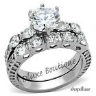 Women's Stainless Steel Round Cut AAA CZ Wedding Ring Band Set Size 5,6,7,8,9,10