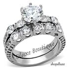 3.10 Ct Round Brilliant Cut CZ Stainless Steel Wedding Ring Set Women's Sz 5-11