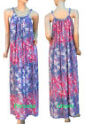 Womens Floral Summer Maxi Dress Blue Pink White Crinkle Chiffon Size 8 10 12 14