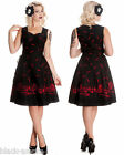 BLACK & RED GOTH CORSET DRESS GRAVEYARD FEATHER TATTOO SWING PARTY 50s NEW