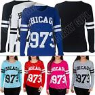 New Ladies Womens Varsity CHICAGO 1973 Print Baseball Top Tshirt Tee Size S M L