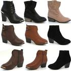 LADIES BIKER BOOTS NEW WOMENS ANKLE HEELS RIDING WESTERN COWBOY SMART SHOES SIZE