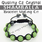 Green Shamballa Bracelet Making Kit Hi-Quality CZ Crystal Beads & Instructions