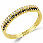 14K Solid Yellow Gold CZ Cubic Zirconia Stackable Anniversary Ring Band 2 Pieces