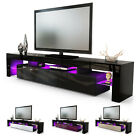 TV Stand Unit Board Lowboard Cabinet Lima V2 Black - High Gloss & Natural Tones