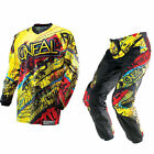 Oneal MX Element Acid Yellow/Red Motocross Jersey & Pants Gearset