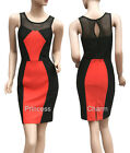 Colour Block Cocktail Party Bodycon Pencil Dress Black Coral Size 8 10 12 14 16