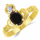 14K Yellow Gold Black Oval Shape CZ Claddagh Ring 1 Ct. (Birthstones Available)