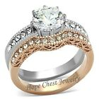 Two Tone IP Rose Gold Stainless Steel CZ Engagement & Wedding Ring Set - 5 TO 10