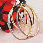 New Charms 3-12pairs Double Gold P Frosted Womens Hoop Earrings Wholesale Lots