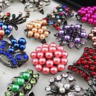 New 10-30pcs CZ Rhinestones Mix Pearl Vintage Women Rings Wholesale Jewelry Lots