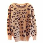 Fashion Style Round Neck Leopard Print Knitted Sweater Jumper Pullover WZM041