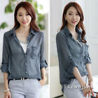 New Ladies Pointed Collar Long Sleeve Button Down Casual Top Blouse Shirt S M L