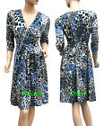 Silver Presssed Animal Print Dress Blue Black Grey 3/4 Sleeve SZ 10 12 14 16 18