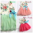 BNWT Girls Baby Toddler Sleeveless Flowers Floral Top Bowknot Tutu Dress 1-5Y