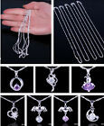 Women New Crystal Amethyst 925 Sterling Silver Dangle Pendants Necklaces Chain