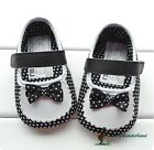 NWT Mothercare Baby Girls Black White dots Shoes Prewalkers Size 3-18m