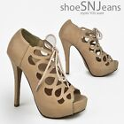 New Women High Heel Cut Out Peep Toe Lace Up Platform Pumps Ankle Booties
