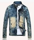 2014 NEW fashion men's slim fit stand collar jean jacket Motorcycle jackets coat