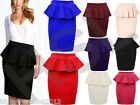 Womens Ladies Double Peplum Frill Pencil Bodycon Knee Length Skirt