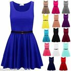 LADIES WOMENS SLEEVELESS FLARED FRANKI SHORT PARTY WOMENS SKATER DRESS SIZE 8-26