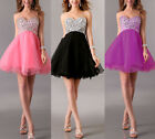 Shimmering Rhinestone Bridesmaid Evening Party Prom Ball Gown Short Mini Dress