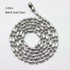 3.2mm Silver Stainless Steel Ball & Oval Bead Necklace Chain(18-27inch)