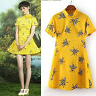 Womens European Fashion Turtle Neck Short Sleeve Insect Bee Print Dress B4872
