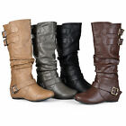 Journee Collection Womens Regular Sized Buckle Slouch Low-Wedge Riding Boots