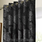 SUPERB DESIGNER CURTAINS CLASSY BLACK & SILVER  RINGTOP EYELET.NEXT DAY DELIVERY