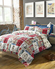 VINTAGE CYCLE RETRO DESIGN DUVET COVER SET 3 SIZES.NEXT DAY DELIVERY