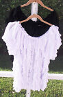 ONCE AGAIN WOMEN WHITE VERTICAL FRILL ON OR OFF SHOULDER BLOUSE 1X 2X 3X NEW
