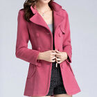 Women's POLO Collar Double Breasted Slim Outerwear Fashion OL Wool Coat Jacket