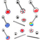 1PC Stainless Steel Flag Tongue Bar Rings Barbell Stud Body Piercing Jewelry New