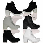Stunning Womens Ladies Black Lace-Up Block Heel Ankle Boots Booties Shoes Size