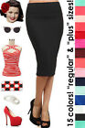 HIGHWAIST 50s PINUP Style Essential PENCIL Skirt ~ Reg & Plus Sizes - 15 Colors!