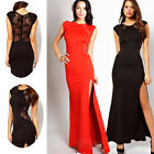 2014 Sexy Lace See-Through Back Bodycon Long Maxi Split Side Evening Prom Dress