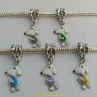 1 or 4 x Silver Tone Enamel Dog European Snake Chain Charm Bracelet Dangle Bead