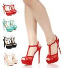 Strappy Open Toe Sexy Lace Dress 6 Inch High Heels Sandals Womens Casual Shoes