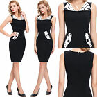 NEW CHIC VINTAGE 1950s STYLE BLACK PENCIL WIGGLE STRETCH BODYCON DRESS XS S M L