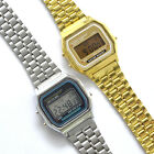 New Mens/Unisex Retro Vintage Style 80s Classic Metal Digital Watch Gold/Silver