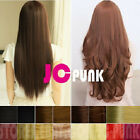 "19""23""27"" Straight/Curly One Piece Hair Extensions 3/4Full Clip In W/Tracking"